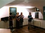 """opening notes by the not-yet-famous group """"Black, White, and Blue"""" (from left to right: Gabriela Benish-Kalná, Marketa Čapková, Isabella  Smrkovská, Lenka Tomášková"""